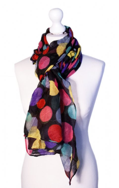 Believe - Large Silky Touch Bright Polka Dot Design Fashion Scarf (Black and Bright)